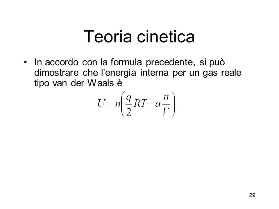 Teoria cinetica In accordo con la formula precedente, si può dimostrare che lenergia interna per un gas reale tipo van der Waals è 29