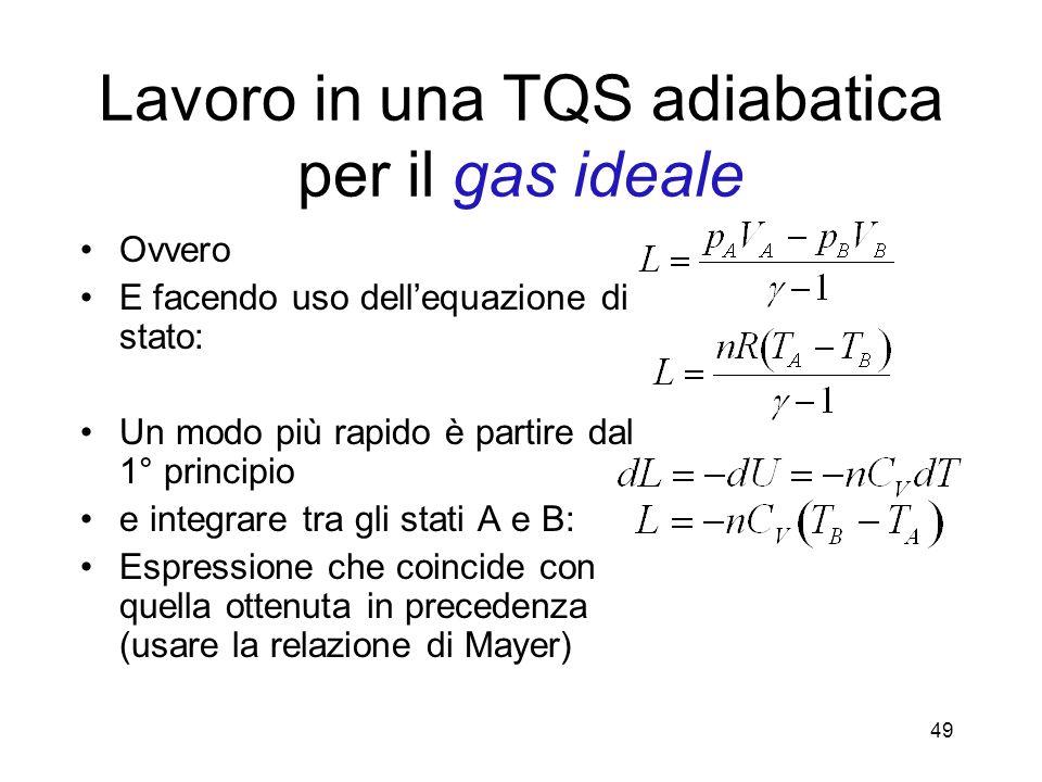 Lavoro in una TQS adiabatica per il gas ideale Ovvero E facendo uso dellequazione di stato: Un modo più rapido è partire dal 1° principio e integrare