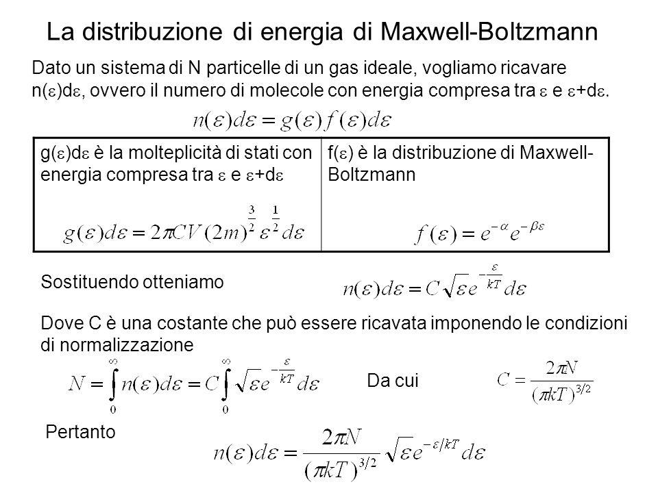 La distribuzione di energia di Maxwell-Boltzmann Dato un sistema di N particelle di un gas ideale, vogliamo ricavare n( )d, ovvero il numero di moleco