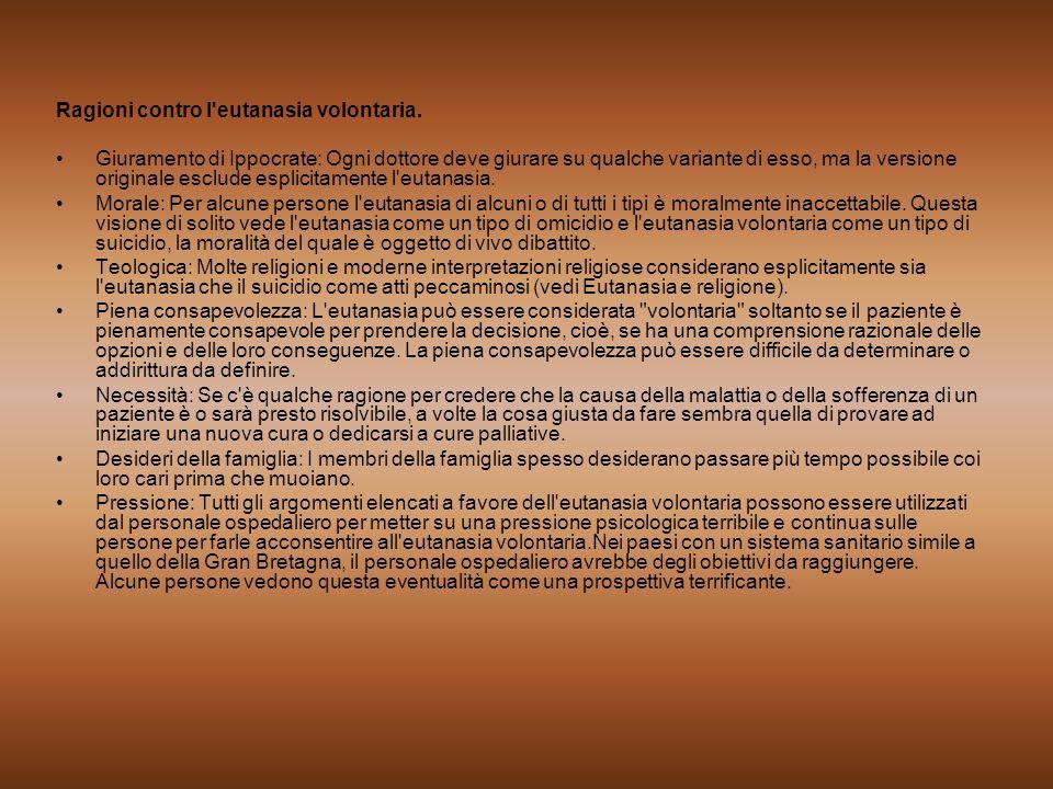 Ragioni contro l'eutanasia volontaria. Giuramento di Ippocrate: Ogni dottore deve giurare su qualche variante di esso, ma la versione originale esclud