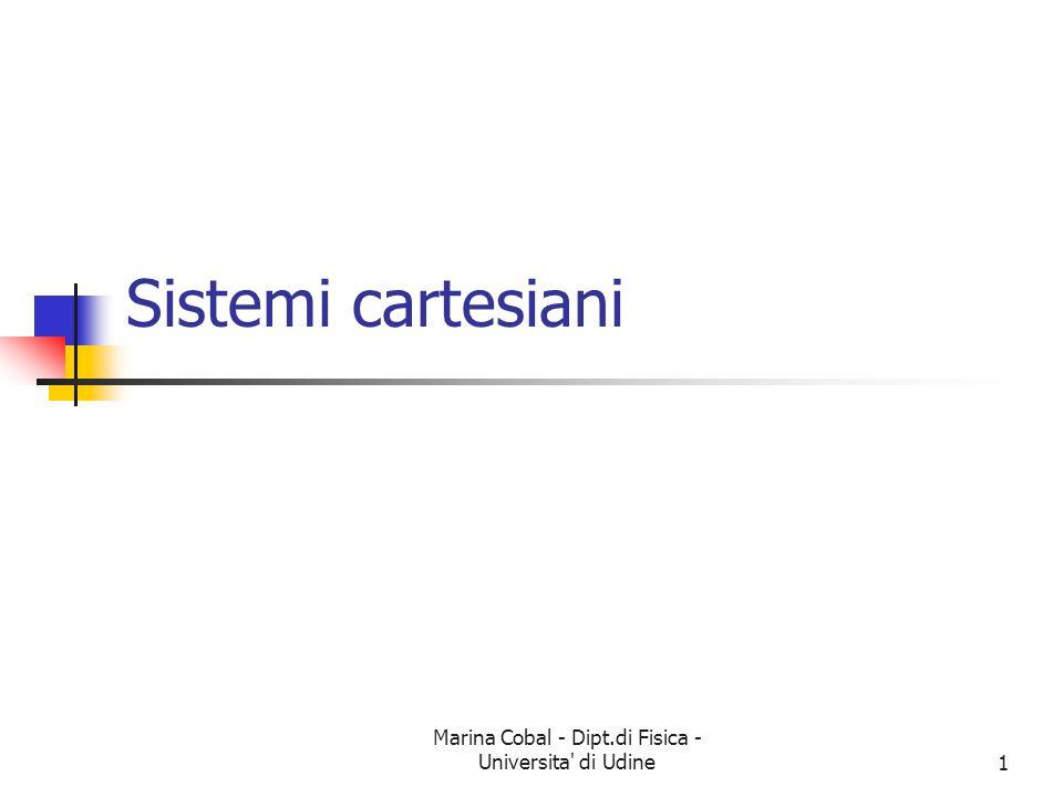 Marina Cobal - Dipt.di Fisica - Universita di Udine2 Sistemi di coordinate Problema: passare da un ente geometrico (punto ad es.) ad un ente analitico (numero o analoghi) Soluzione: si definisce una procedura che da un punto fornisce una n-pla ordinata di numeri reali È un Sistema di coordinate