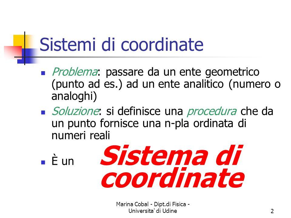Marina Cobal - Dipt.di Fisica - Universita di Udine13 Sistemi cartesiani tre dimensioni Si prendono tre rette (stavolta sempre ortogonali) che si incontrano in un punto Si scelgono tre segmenti (unità di misura) Si sceglie il punto dincontro come origine del sistema Si proietta un punto dello spazio sui tre assi Si ottengono tre coordinate (terna ordinata di numeri reali)
