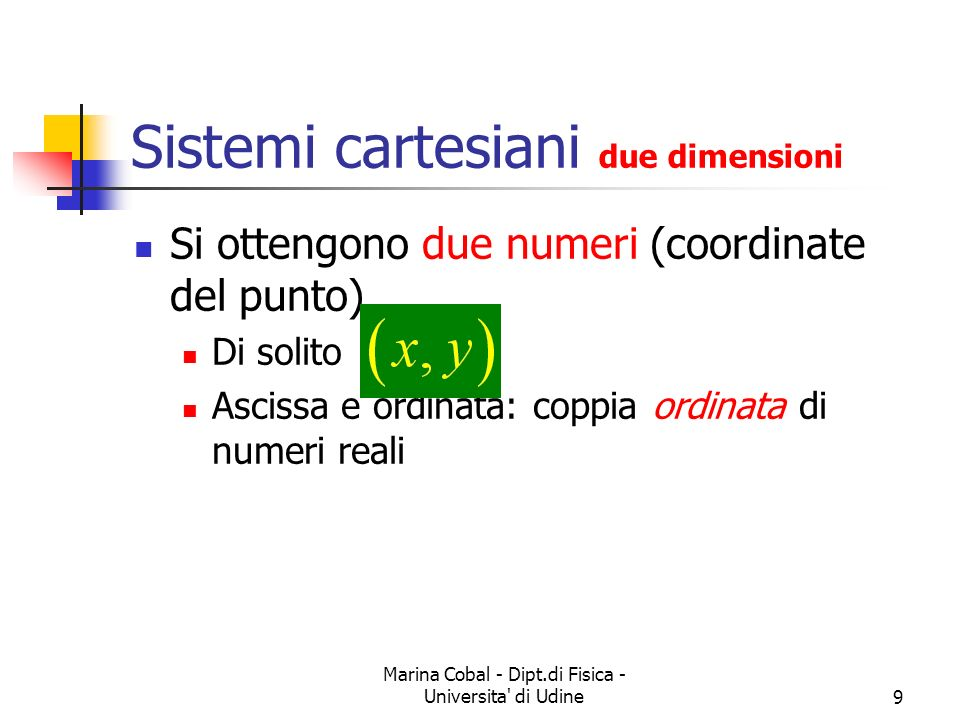 Marina Cobal - Dipt.di Fisica - Universita' di Udine9 Sistemi cartesiani due dimensioni Si ottengono due numeri (coordinate del punto) Di solito Ascis