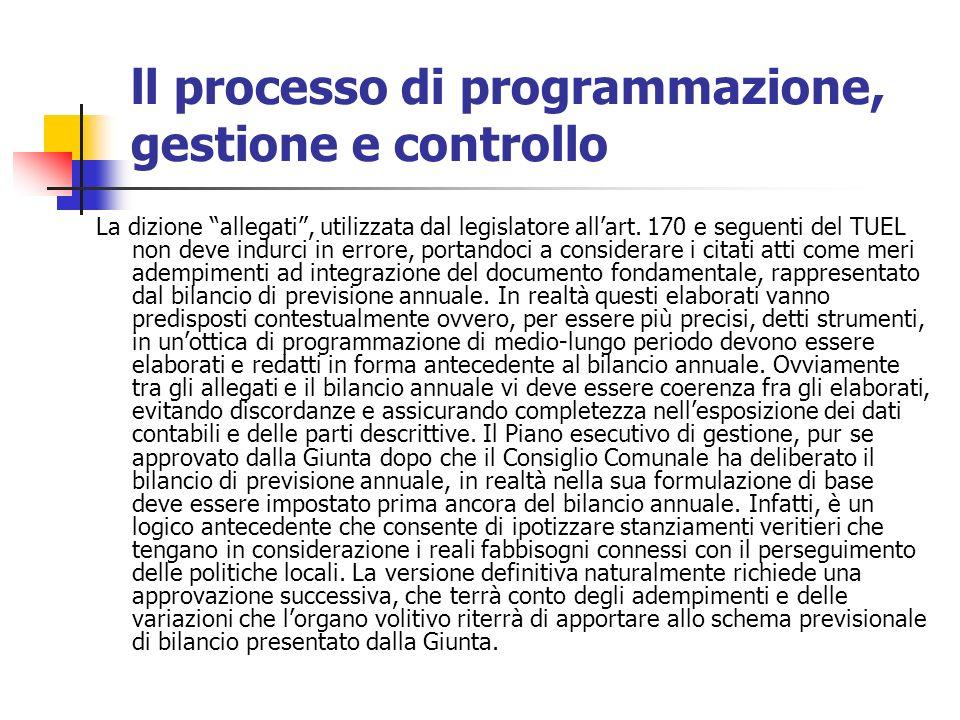 ll processo di programmazione, gestione e controllo La dizione allegati, utilizzata dal legislatore allart.