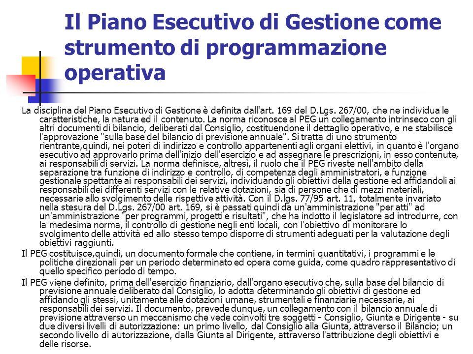 Il Piano Esecutivo di Gestione come strumento di programmazione operativa La disciplina del Piano Esecutivo di Gestione è definita dall art.