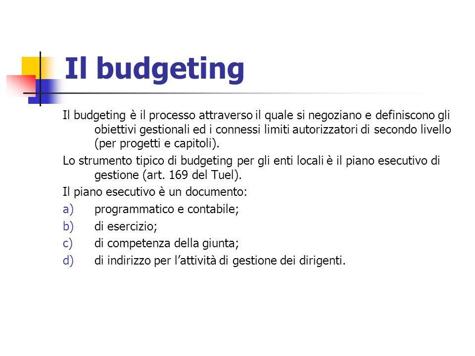 Il budgeting Il budgeting è il processo attraverso il quale si negoziano e definiscono gli obiettivi gestionali ed i connessi limiti autorizzatori di secondo livello (per progetti e capitoli).