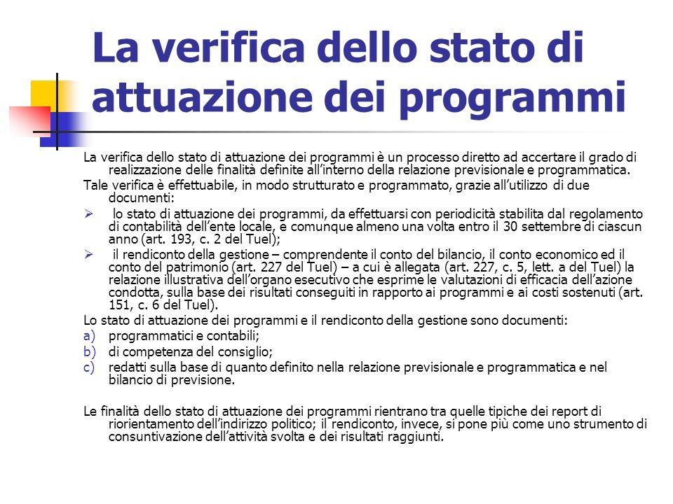 La verifica dello stato di attuazione dei programmi La verifica dello stato di attuazione dei programmi è un processo diretto ad accertare il grado di realizzazione delle finalità definite allinterno della relazione previsionale e programmatica.