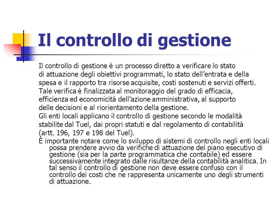 Il controllo di gestione Il controllo di gestione è un processo diretto a verificare lo stato di attuazione degli obiettivi programmati, lo stato dellentrata e della spesa e il rapporto tra risorse acquisite, costi sostenuti e servizi offerti.