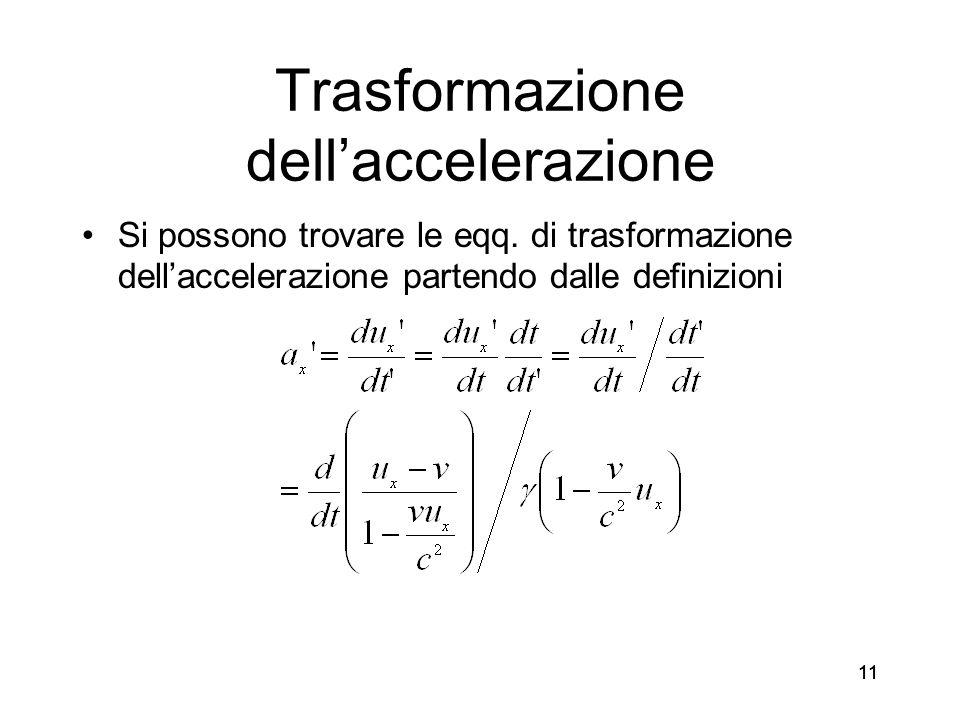 11 Trasformazione dellaccelerazione Si possono trovare le eqq. di trasformazione dellaccelerazione partendo dalle definizioni