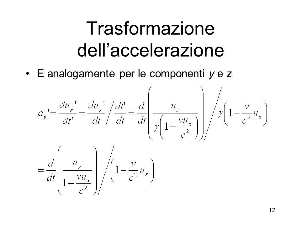 12 Trasformazione dellaccelerazione E analogamente per le componenti y e z