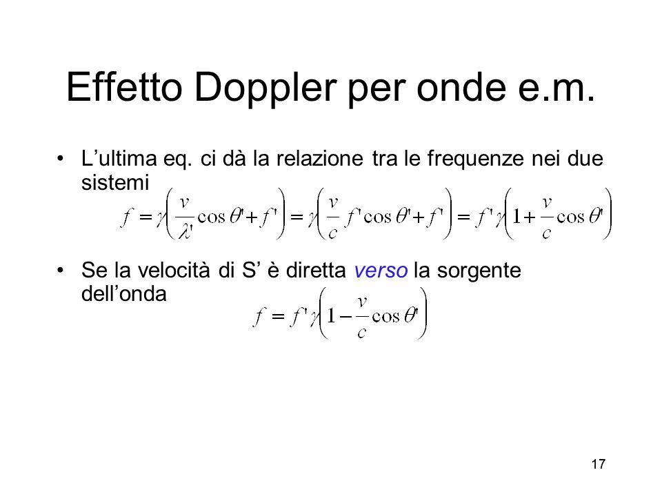 17 Effetto Doppler per onde e.m. Lultima eq. ci dà la relazione tra le frequenze nei due sistemi Se la velocità di S è diretta verso la sorgente dello