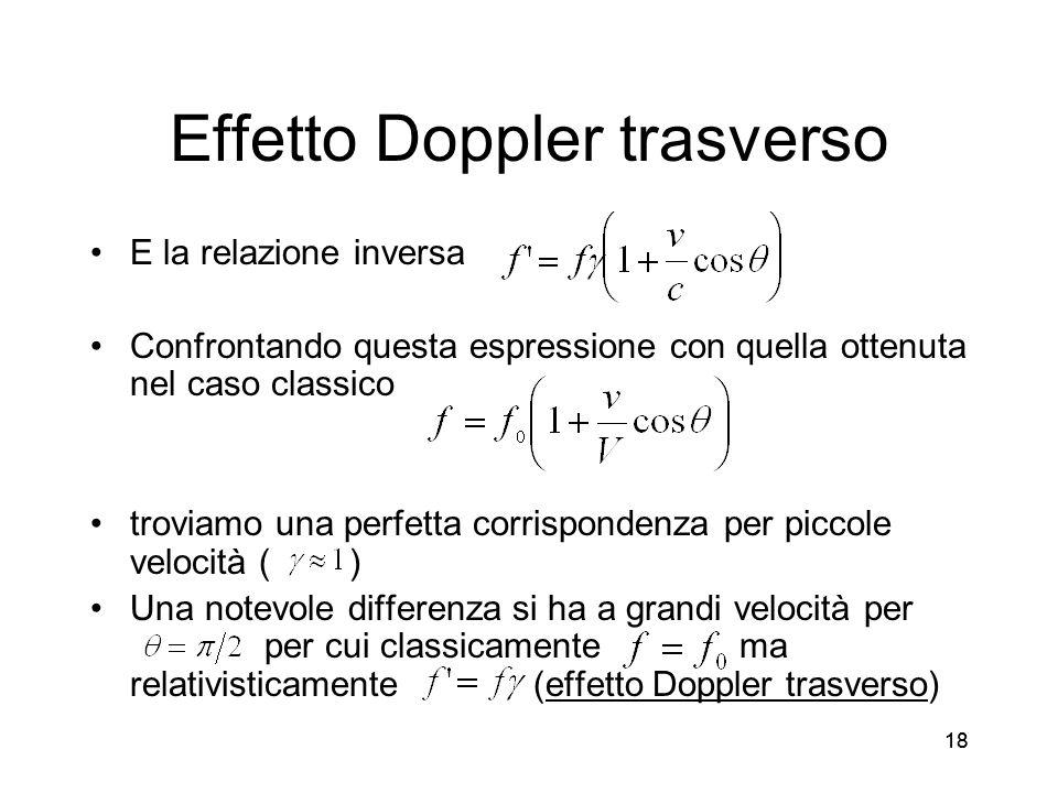 18 Effetto Doppler trasverso E la relazione inversa Confrontando questa espressione con quella ottenuta nel caso classico troviamo una perfetta corrispondenza per piccole velocità ( ) Una notevole differenza si ha a grandi velocità per per cui classicamente ma relativisticamente (effetto Doppler trasverso)