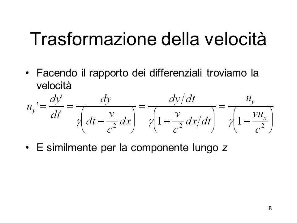 888 Trasformazione della velocità Facendo il rapporto dei differenziali troviamo la velocità E similmente per la componente lungo z