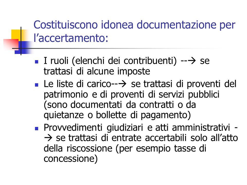 Costituiscono idonea documentazione per laccertamento: I ruoli (elenchi dei contribuenti) -- se trattasi di alcune imposte Le liste di carico-- se tra