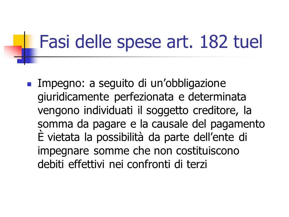 Fasi delle spese art. 182 tuel Impegno: a seguito di unobbligazione giuridicamente perfezionata e determinata vengono individuati il soggetto creditor
