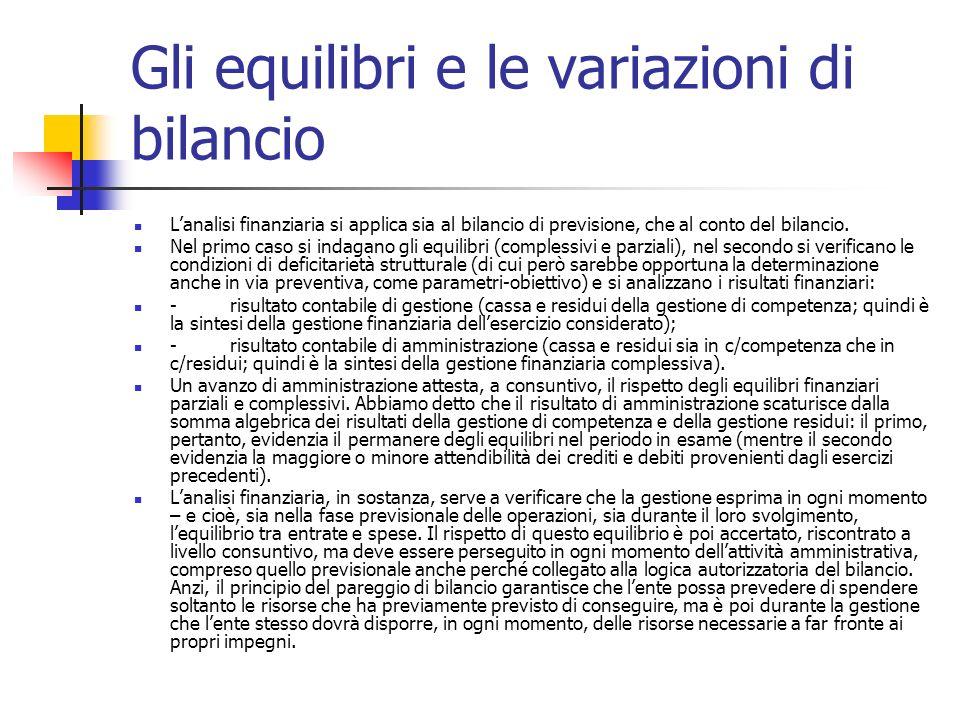 Gli equilibri e le variazioni di bilancio Lanalisi finanziaria si applica sia al bilancio di previsione, che al conto del bilancio. Nel primo caso si