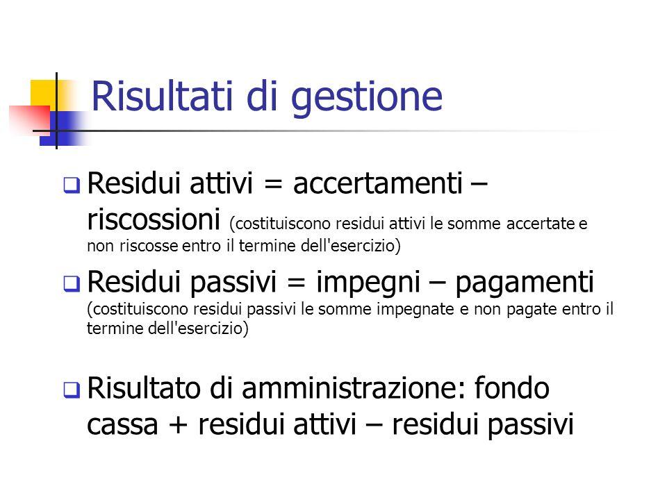 Risultati di gestione Residui attivi = accertamenti – riscossioni (costituiscono residui attivi le somme accertate e non riscosse entro il termine del
