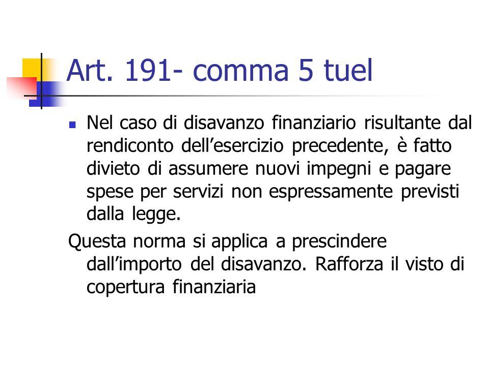 Art. 191- comma 5 tuel Nel caso di disavanzo finanziario risultante dal rendiconto dellesercizio precedente, è fatto divieto di assumere nuovi impegni