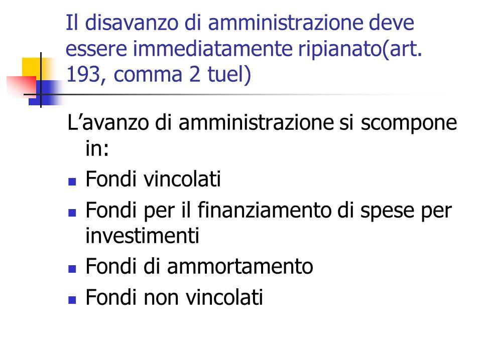 Il disavanzo di amministrazione deve essere immediatamente ripianato(art. 193, comma 2 tuel) Lavanzo di amministrazione si scompone in: Fondi vincolat