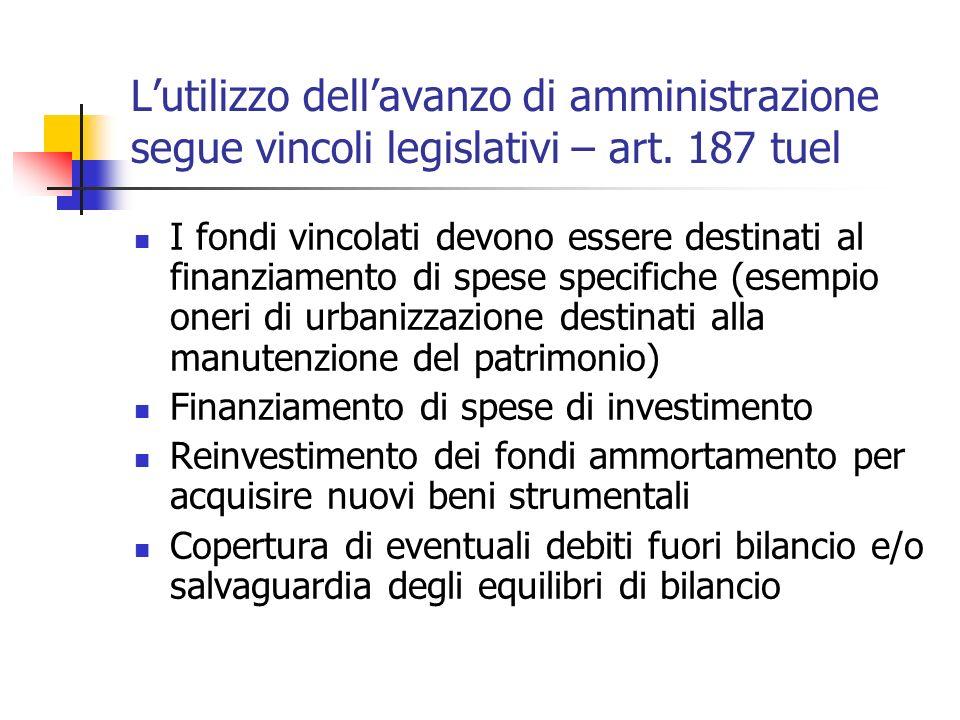 Lutilizzo dellavanzo di amministrazione segue vincoli legislativi – art. 187 tuel I fondi vincolati devono essere destinati al finanziamento di spese