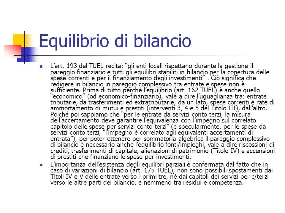 Equilibrio di bilancio Lart.