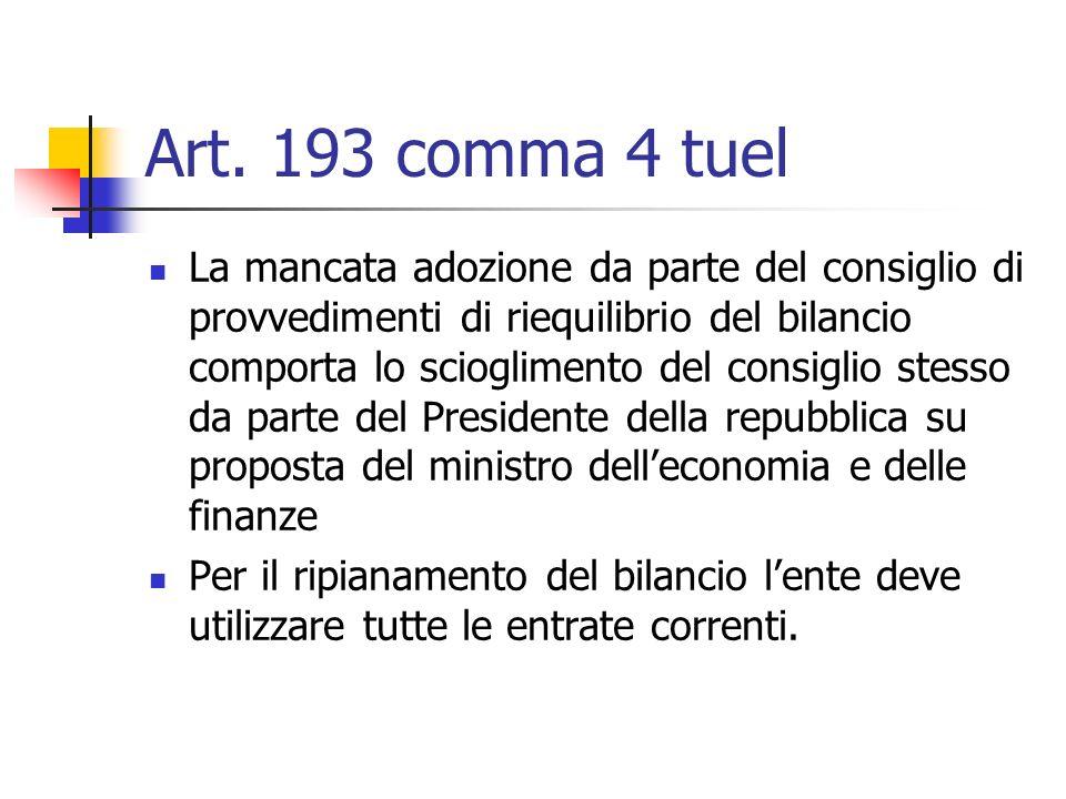 Art. 193 comma 4 tuel La mancata adozione da parte del consiglio di provvedimenti di riequilibrio del bilancio comporta lo scioglimento del consiglio