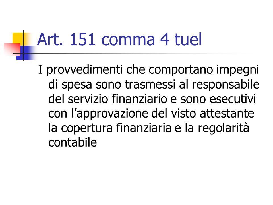 Art. 151 comma 4 tuel I provvedimenti che comportano impegni di spesa sono trasmessi al responsabile del servizio finanziario e sono esecutivi con lap