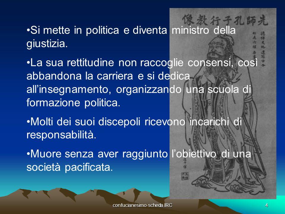 confucianesimo-scheda IRC4 Si mette in politica e diventa ministro della giustizia. La sua rettitudine non raccoglie consensi, così abbandona la carri