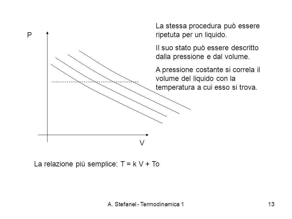 A. Stefanel - Termodinamica 113 P V La stessa procedura può essere ripetuta per un liquido. Il suo stato può essere descritto dalla pressione e dal vo