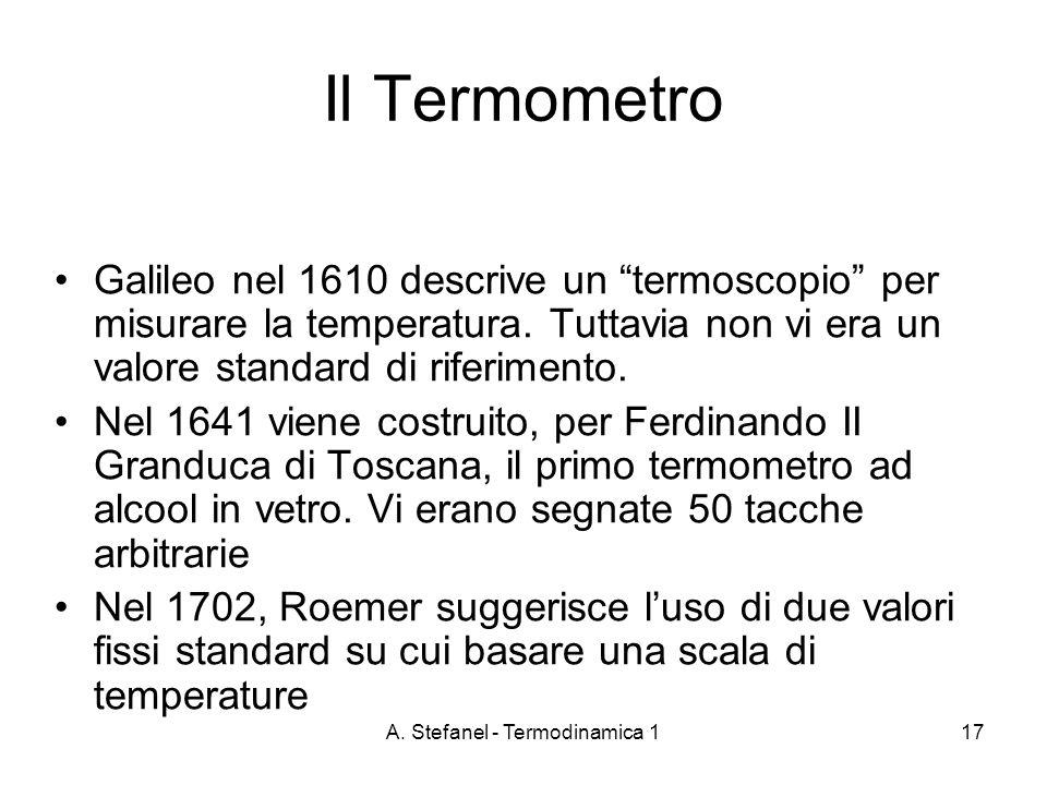 A. Stefanel - Termodinamica 117 Il Termometro Galileo nel 1610 descrive un termoscopio per misurare la temperatura. Tuttavia non vi era un valore stan