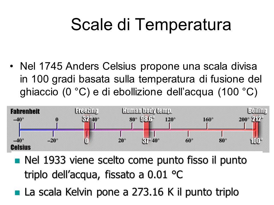 A. Stefanel - Termodinamica 119 Scale di Temperatura Nel 1745 Anders Celsius propone una scala divisa in 100 gradi basata sulla temperatura di fusione