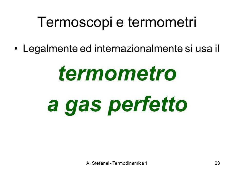 A. Stefanel - Termodinamica 123 Termoscopi e termometri Legalmente ed internazionalmente si usa il termometro a gas perfetto