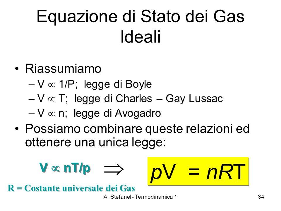 A. Stefanel - Termodinamica 134 Equazione di Stato dei Gas Ideali Riassumiamo –V 1/P; legge di Boyle –V T; legge di Charles – Gay Lussac –V n; legge d