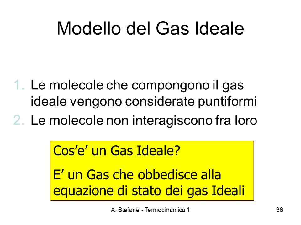 A. Stefanel - Termodinamica 136 Modello del Gas Ideale 1. Le molecole che compongono il gas ideale vengono considerate puntiformi 2. Le molecole non i