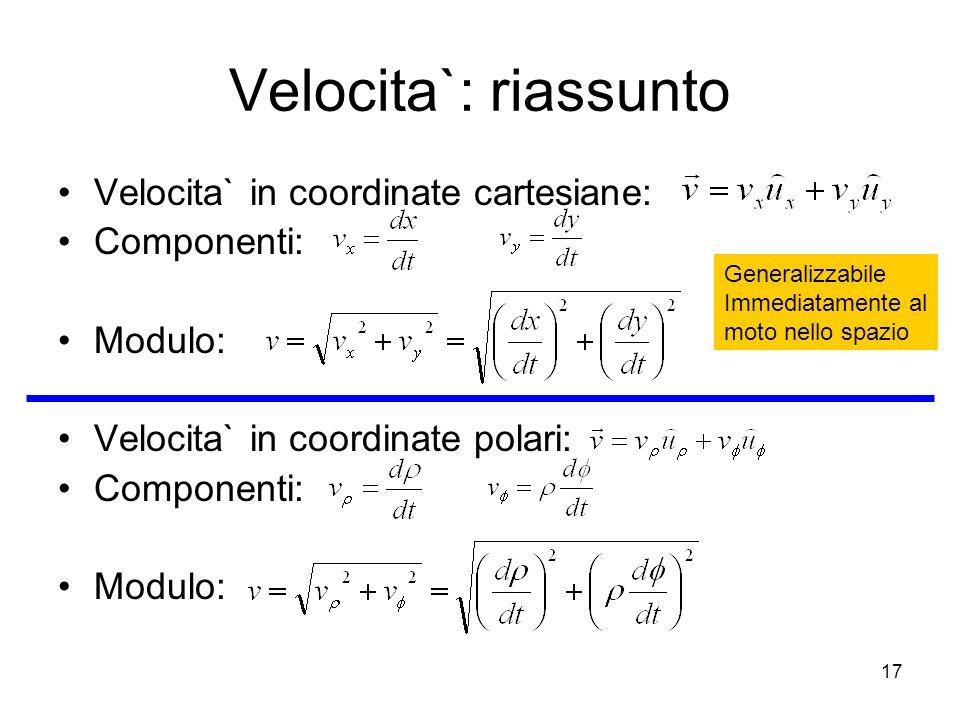 Velocita`: riassunto Velocita` in coordinate cartesiane: Componenti: Modulo: Velocita` in coordinate polari: Componenti: Modulo: Generalizzabile Immed