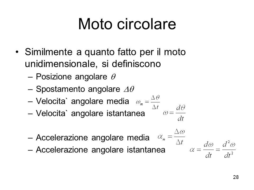Moto circolare Similmente a quanto fatto per il moto unidimensionale, si definiscono –Posizione angolare –Spostamento angolare –Velocita` angolare med