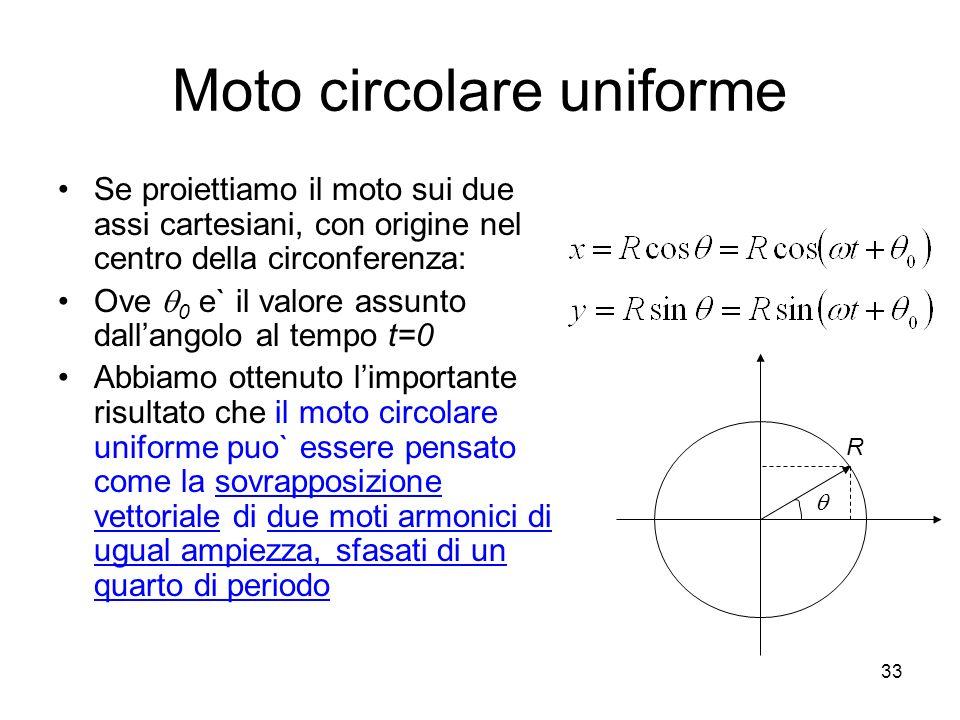 Moto circolare uniforme Se proiettiamo il moto sui due assi cartesiani, con origine nel centro della circonferenza: Ove 0 e` il valore assunto dallang