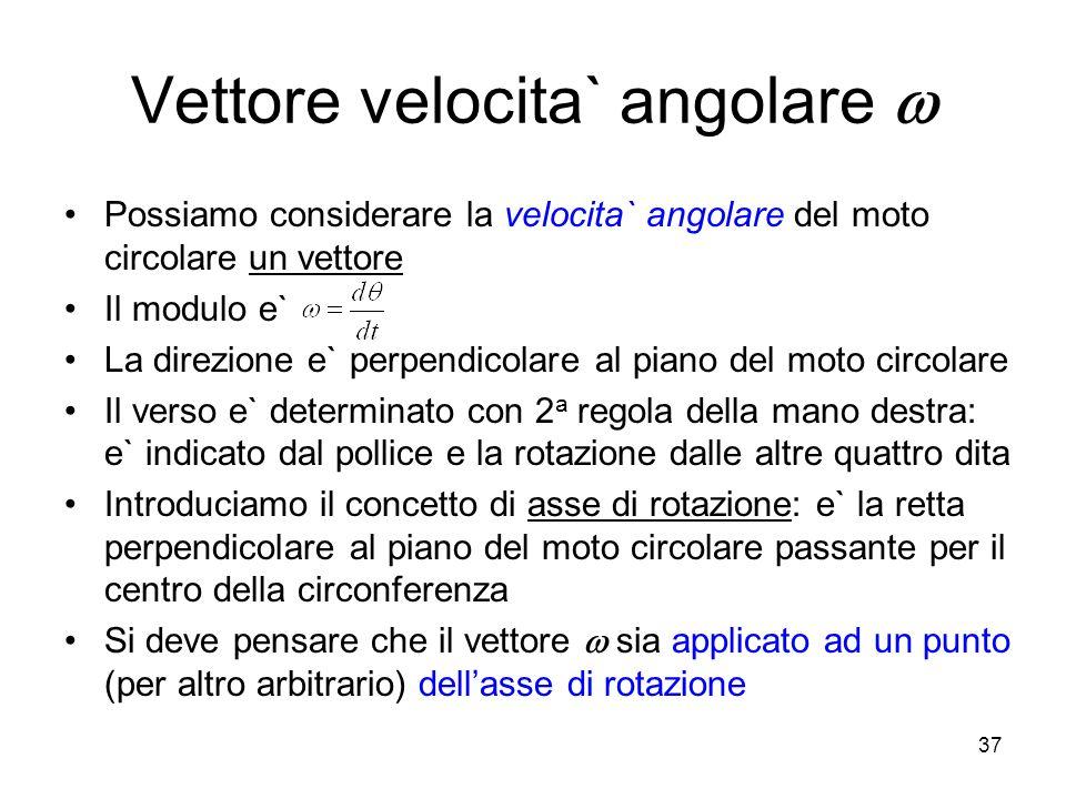 Vettore velocita` angolare Possiamo considerare la velocita` angolare del moto circolare un vettore Il modulo e` La direzione e` perpendicolare al pia