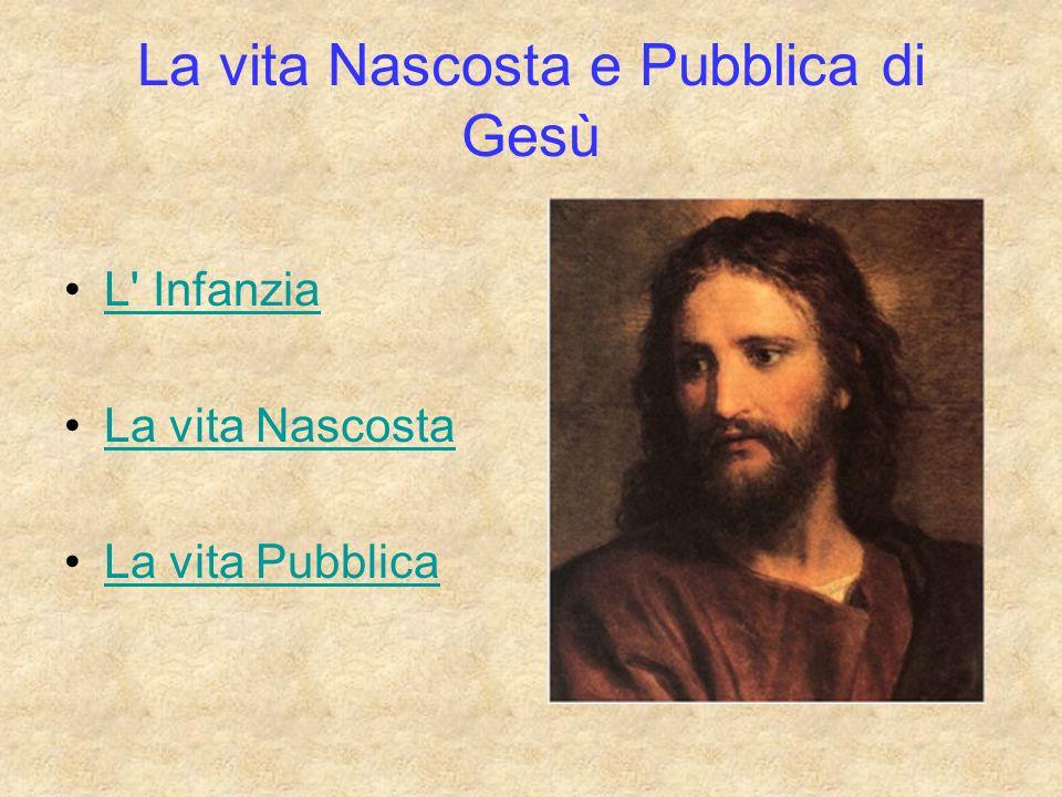 La vita Nascosta e Pubblica di Gesù L' Infanzia La vita Nascosta La vita Pubblica