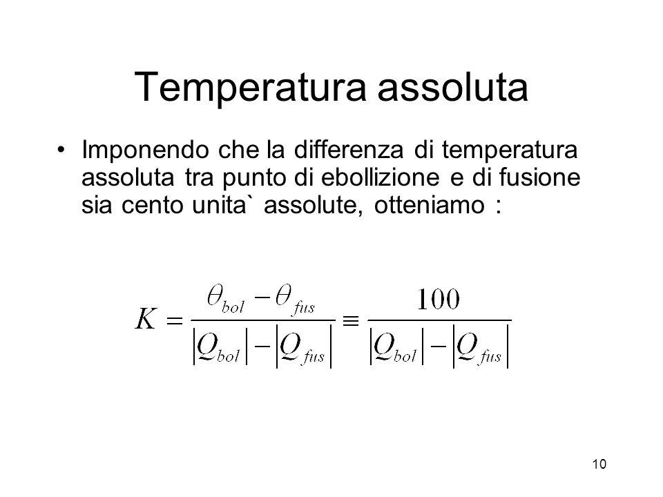 Temperatura assoluta Imponendo che la differenza di temperatura assoluta tra punto di ebollizione e di fusione sia cento unita` assolute, otteniamo : 10