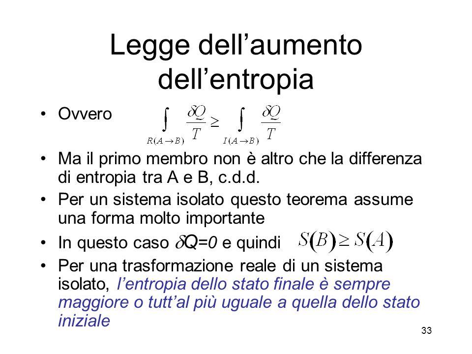 Legge dellaumento dellentropia Ovvero Ma il primo membro non è altro che la differenza di entropia tra A e B, c.d.d.