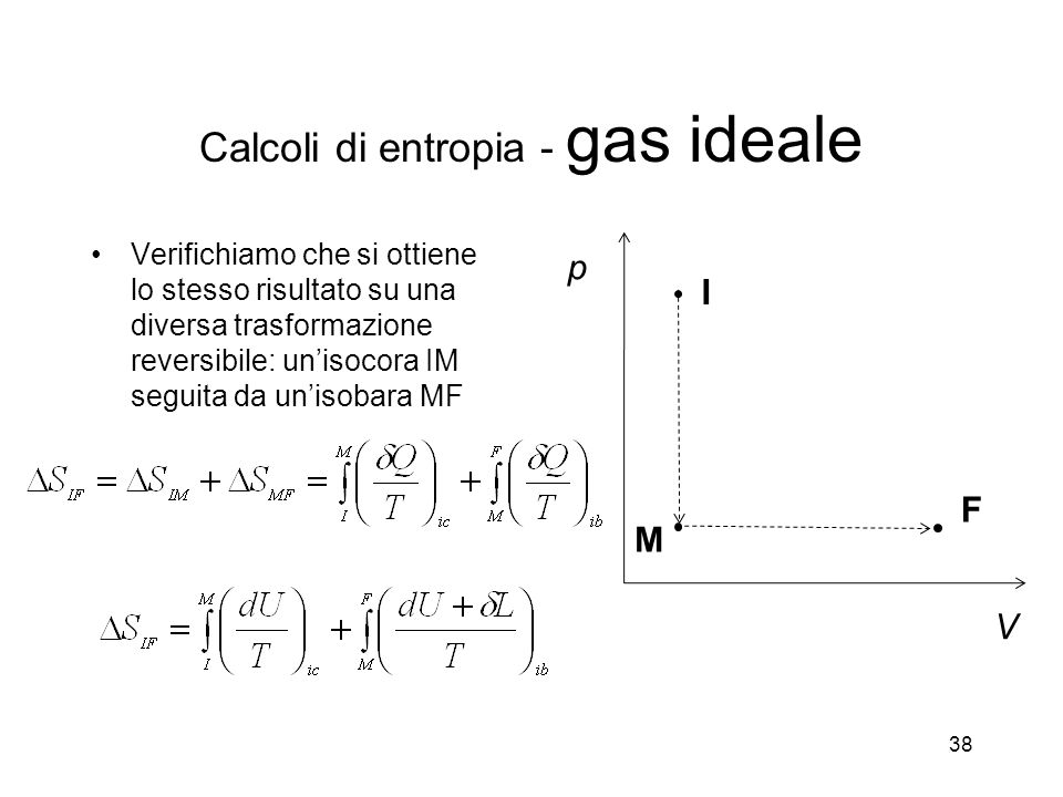 Verifichiamo che si ottiene lo stesso risultato su una diversa trasformazione reversibile: unisocora IM seguita da unisobara MF 38 p V I F M Calcoli di entropia - gas ideale