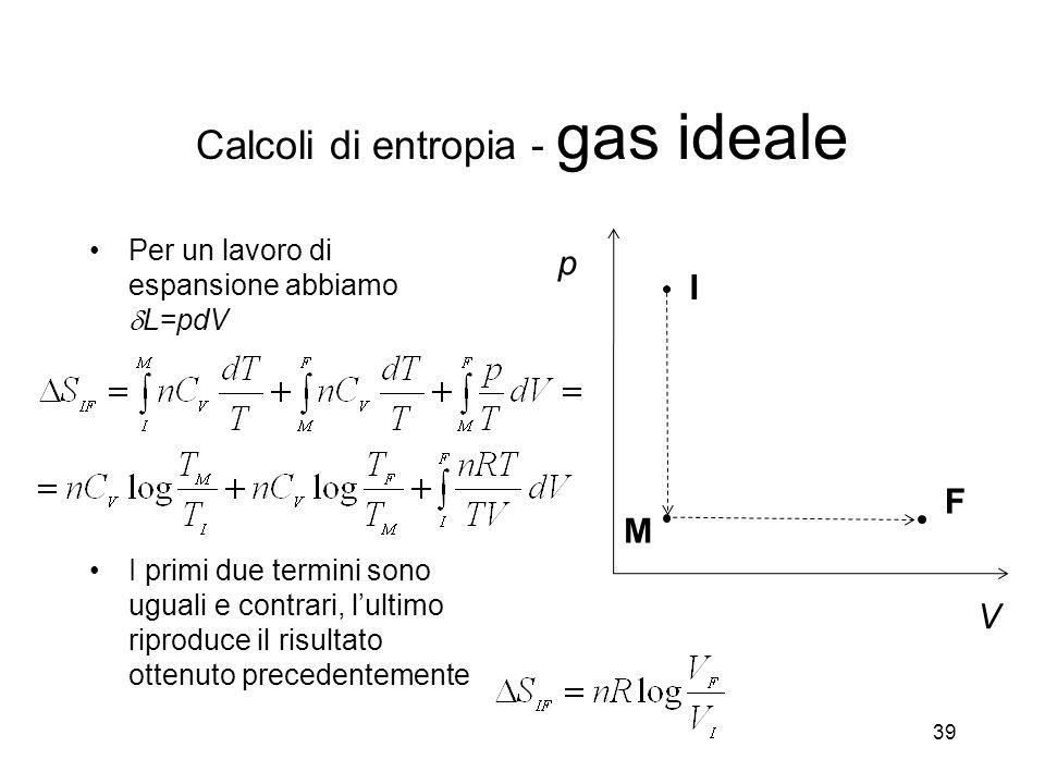 Per un lavoro di espansione abbiamo L=pdV I primi due termini sono uguali e contrari, lultimo riproduce il risultato ottenuto precedentemente 39 p V I F M Calcoli di entropia - gas ideale