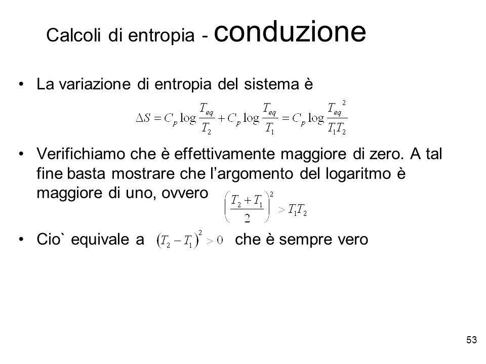 53 La variazione di entropia del sistema è Verifichiamo che è effettivamente maggiore di zero.