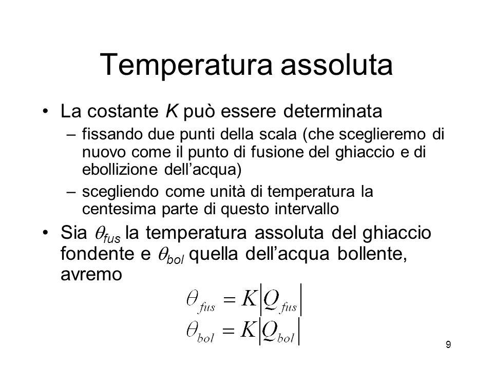 Temperatura assoluta La costante K può essere determinata –fissando due punti della scala (che sceglieremo di nuovo come il punto di fusione del ghiaccio e di ebollizione dellacqua) –scegliendo come unità di temperatura la centesima parte di questo intervallo Sia fus la temperatura assoluta del ghiaccio fondente e bol quella dellacqua bollente, avremo 9