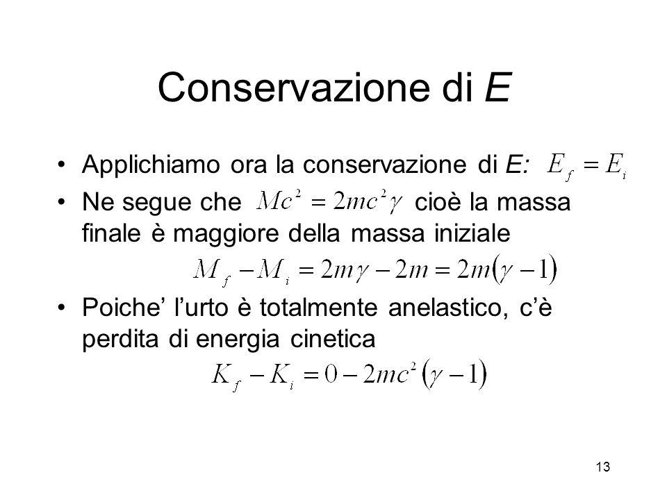 Conservazione di E Applichiamo ora la conservazione di E: Ne segue che cioè la massa finale è maggiore della massa iniziale Poiche lurto è totalmente anelastico, cè perdita di energia cinetica 13