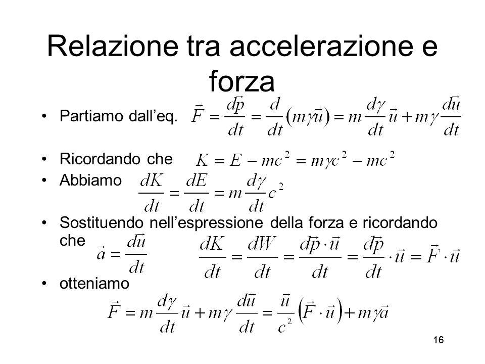 16 Relazione tra accelerazione e forza Partiamo dalleq.