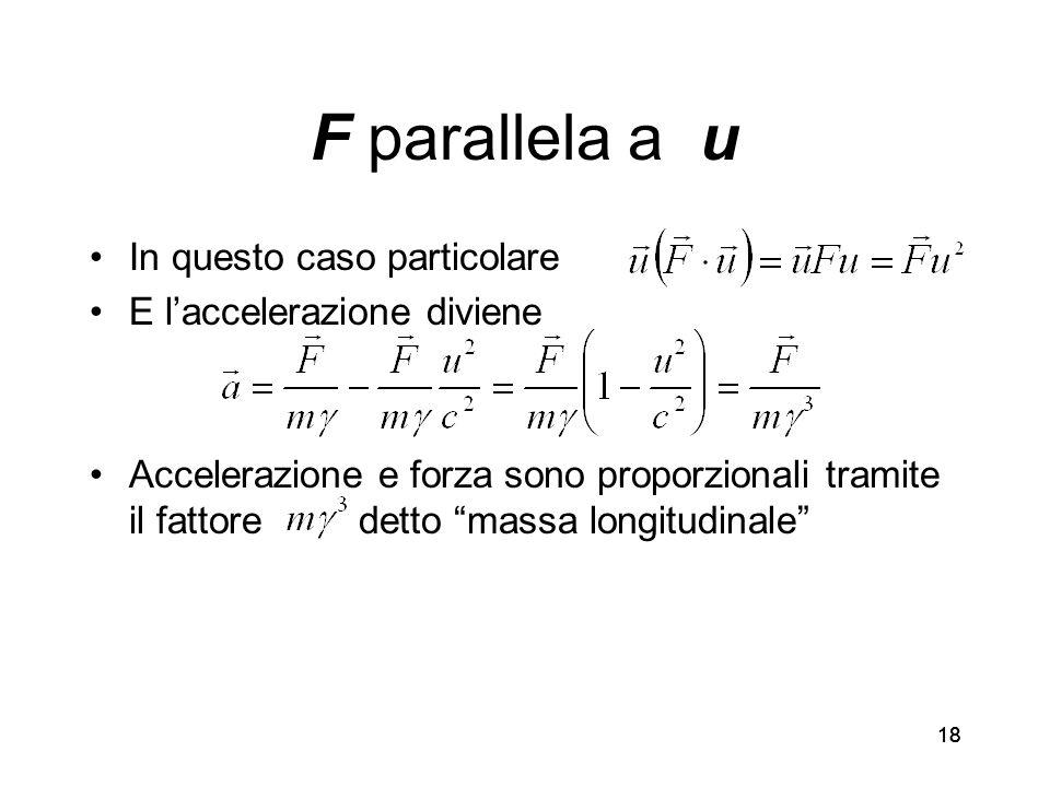18 F parallela a u In questo caso particolare E laccelerazione diviene Accelerazione e forza sono proporzionali tramite il fattore detto massa longitudinale