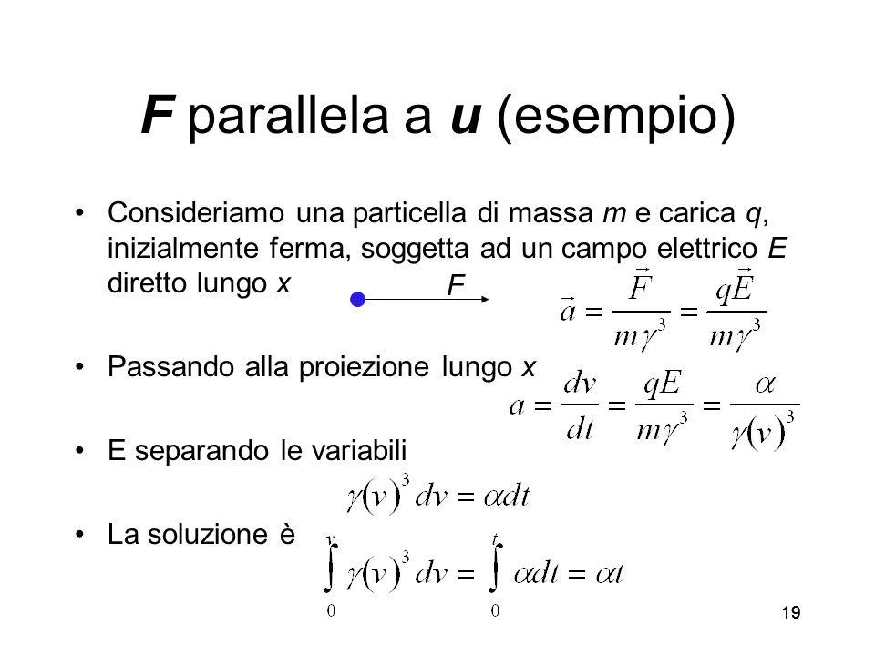 19 F parallela a u (esempio) Consideriamo una particella di massa m e carica q, inizialmente ferma, soggetta ad un campo elettrico E diretto lungo x Passando alla proiezione lungo x E separando le variabili La soluzione è F