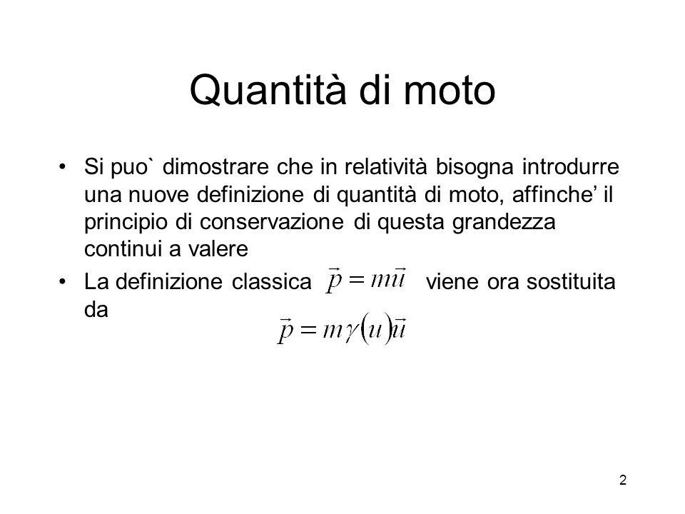 Quantità di moto Si puo` dimostrare che in relatività bisogna introdurre una nuove definizione di quantità di moto, affinche il principio di conservazione di questa grandezza continui a valere La definizione classica viene ora sostituita da 2